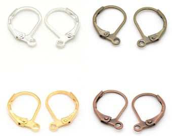 20 Brass Leverbacks - 10 Earring Pairs - Nickel Free - Choose Silver, Gold, Bronze, or Copper