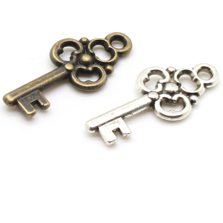 15 trefoil key charms bronze or silver nickel free tibetan