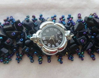 MASSIVE SALE- Black and blue watch bracelet by Ashley3535