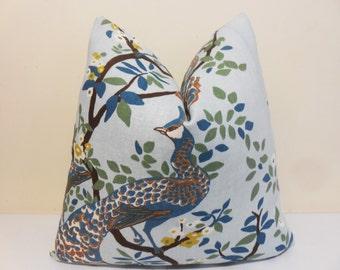 Vintage Plumes Jade Floral-Dwell Studio/ Robert Allen- lumbar pillow- Throw Pillow - Accent Pillow Decorative Designer Pillow - Toss Pillow