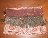 1940's -50''s vintage men's scarf.  Paisley pattern in brown, rust, and beige.  Fringed.