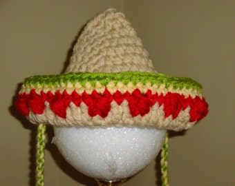 Crocheted Mexican Sombrero hat for baby, in sizes newborn to 3 years - Ready to Ship
