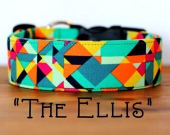 "Bright Emerald, Mint, Pink & Orange Multicolor Geometric Dog Collar ""The Ellis"""