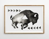 Large Hand Painted Buffalo  Watercolor Original Geometric Bison Painting Minimalist Black White Woodland Art Scandinavian Buffalo Artwork