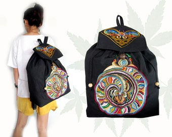 Backpack Hmong Tribal style with embroidered piece Handmade by Hmong Hill tribe Thailand. (KP1219)