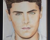Zac Efron Original colour pencil drawing sketch ART signed A4 fan-art