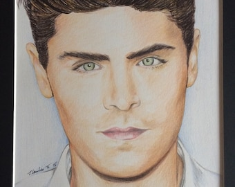 Zac Efron Original colour pencil drawing sketch ART signed A4 fan-art