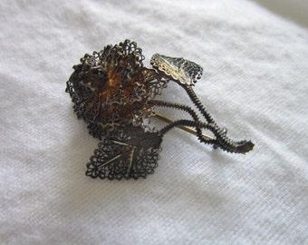 Antique Sterling Silver Filigree Flower Brooch Pin Lots of Detail