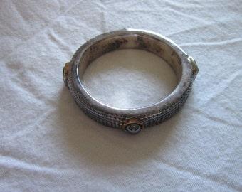 Super Vintage Sterling Silver & Inset Stones Cuff Bracelet Must See