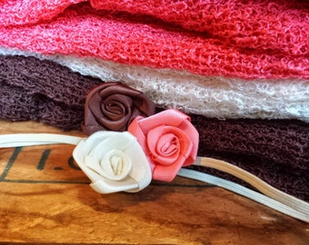 Rosette Trio Headband, photo prop, Newborn, toddler, adult