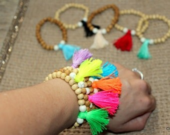 Tassel Bracelet - Friendship Bracelet - Arm Candy - Boho Jewelry - Claribella - Wooden Bracelet