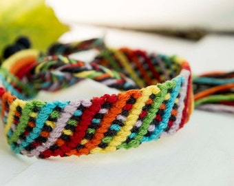 Black Star in Rainbow  Friendship Bracelet