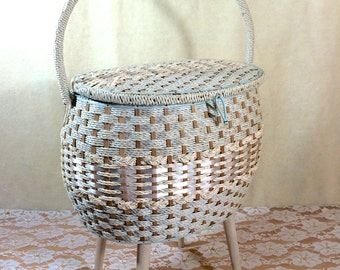 Large Roomy Vintage Sewing Caddy Basket on Tapered Legs. Tall Sewing Caddy. Dritz. Woven. White, with Baby Blue Satin Interior. Lovely