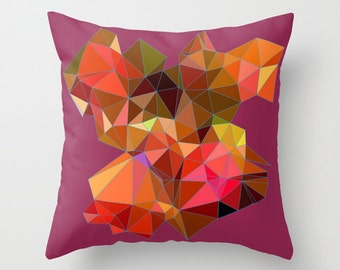 Art Pillow Cover - Wine and Orange and Pink Geometric Pillow Cover - Decorative Pillow Cover - Mid-Century Modern Pillow Cover - Geo Pillow