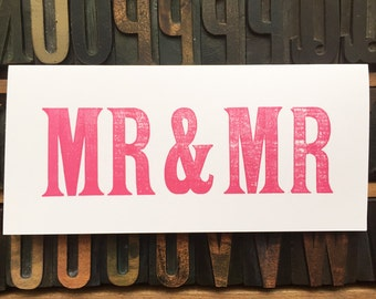 Mr and Mr - Wedding Day Card - Anniversary Card - Gay Couple Card - handprinted Letterpress card