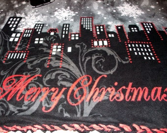 Double Layer Christmas Cityscape Fleece Blanket with Braided Edges