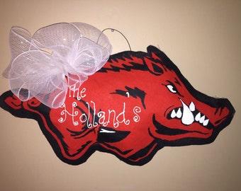 Arkansas Razorback in Burlap door hanger