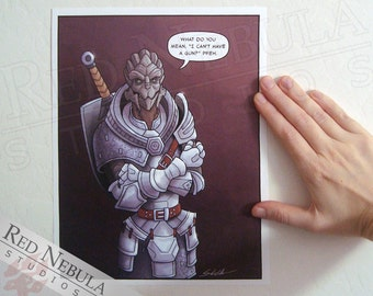 8.5x11 Turian Armor, Mass Effect Humor, Comic Art Print