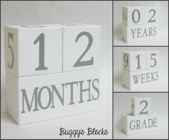 Baby Age Blocks - Photo Prop - 0 - 43 Weeks, Months, Years and Grade