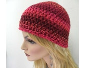 Women's Beanie, Red Striped Beanie, Winter hat, Chunky Beanie hat, Teen Beanie, Cloche Hat, red beanie,  Women, Teens,  Winter Accessories