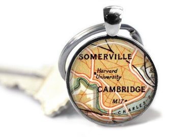 Harvard University Keychain, Custom Personalized Cambridge map Keychains, College key chain, College Gifts, Graduation Gift. Massachusetts