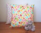 Handmade Children's Bird and Polka Dot Cushion Pillow With Zip Closure