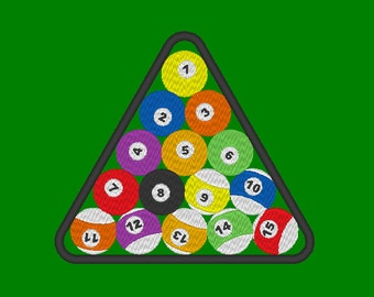 Pool Balls Triangle Embroidery Machine Design