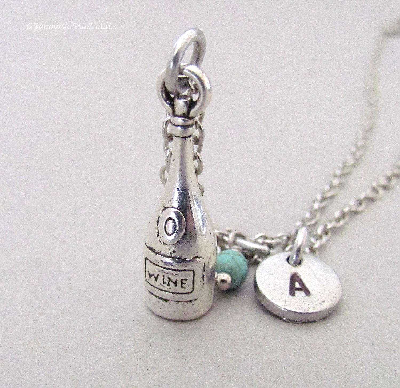 wine bottle charm necklace personalized by gsakowskistudiolite