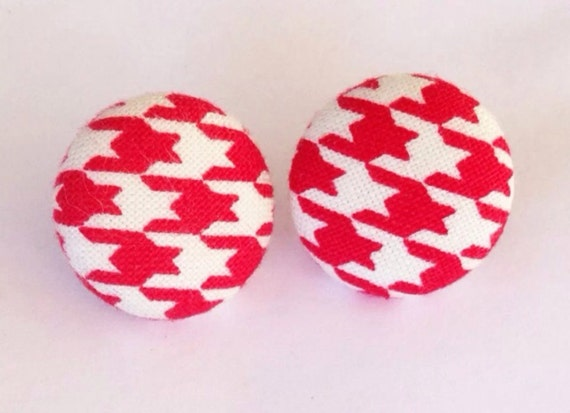 Red and White Houndstooth Fabric Button Earrings