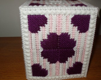 Burgundy and Pink Tissue Box Cover with Hearts Plastic Canvas