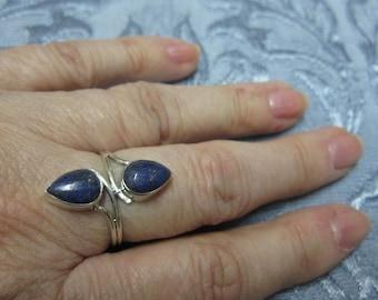 Lapis Lazuli Sterling Silver Ring Size 8