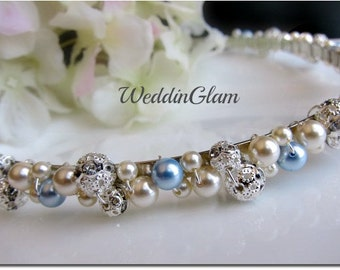 Bridal Headband, Something Blue Pearl and Rhinestone Bridal Headband, Crystal Wedding Headband, Wedding Bridal Hair Accessories Ivory Blue