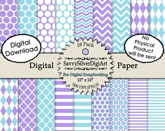 Turquoise & Purple Digital Paper - Instant Download, Polka Dot Paper, Stripe Paper, Chevron, Harlequin, Scrapbook Paper