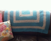 Turquoise Blue & White Classic Granny Square Hand Knit Blanket, Crocheted Afghan, Vintage Reading Wrap, Boho Picnic, Lap Throw, Hippie Chic