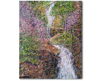 """Original Encaustic (wax) and Oil landscape painting """"Cascading Falls"""" Lots of awesome texture and drippings of wax. Springtime colors!"""