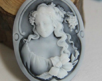 over stock clearance-24 pcs of   of resin cameo 30X40mm-RC0145- black