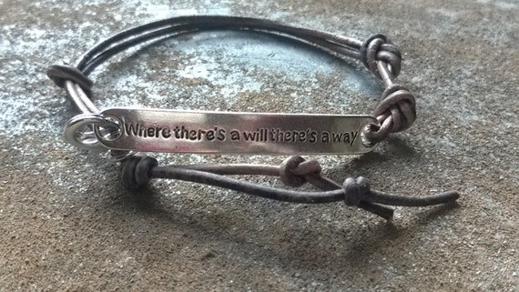 silver leather inspirational quote bracelet where