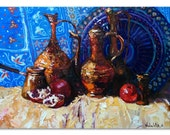"East still life painting Original oil painting,Oriental pitchers and garnets on canvas, 19.7 "" x 29.5"", Fine art by Valiulina"