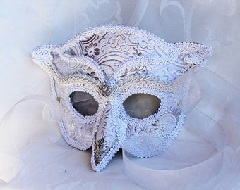 White Owl Masquerade Mask, MADE TO ORDER White Silver Brocade Over Leather Venetian Style Owl Masquerade Mask