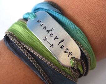 Wanderlust Hand Stamped Ribbon Wrap Bracelet