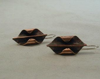 Copper shield form folded earrings