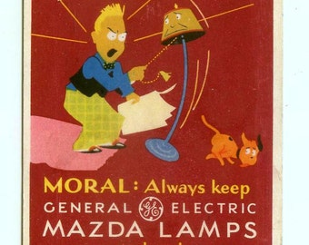 Vintage General Electric Mazda Lamps Light Bulbs GE Advertising Ink Blotter Kummer Electric Co Milwaukee WI 1940s