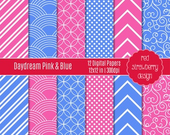 75% OFF Sale - Daydream Pink & Blue - 12 Digital Papers - Instant Download - JPG 12x12 (DP150)