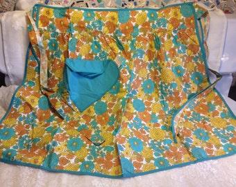 Unused Vintage Floral Half Apron - Blue and Orange Zinnias & Mums