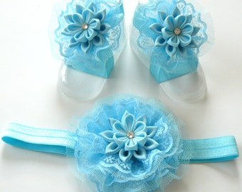 Baby Headband and Baby Barefoot Sandals. Baby shoes. Baby headband. Light blue Baby Girl Accessories.