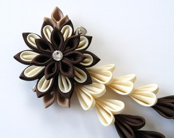 Brown and ivory Kanzashi Fabric Flower hair clip with falls. Brown and ivory fabric flower.