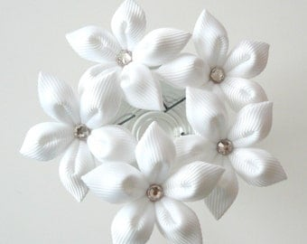White flower hair pins for bride, Wedding hair flowers Bridal hair accessories Bridal Hair Pins.Set Of 5 White Stephanotis Hair Pins