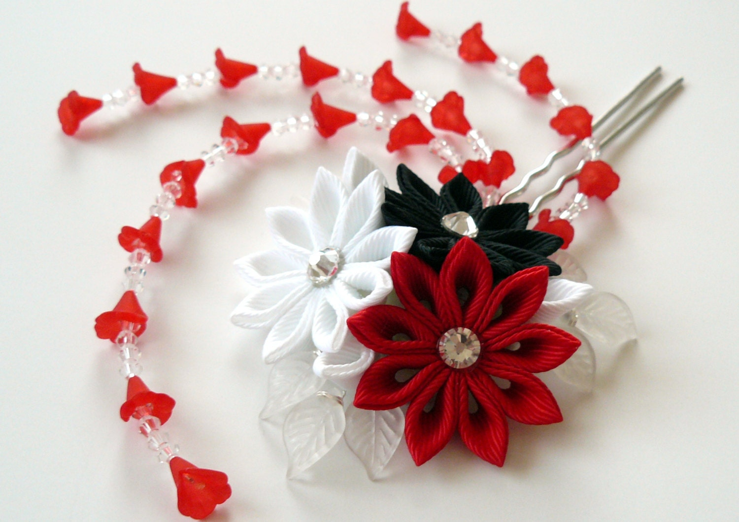 Kanzashi Fabric Flower Hair Fork Kanzashi Flower Hair U Pin