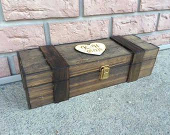 Personalized Wine Box Engraved Wood Rustic Vineyard Wedding Gift Box with Heart