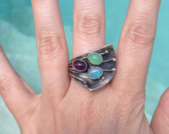 Alice E Platero Sterling Silver And Multi Gemstone Opal Amethyst Ring Size 8 Adjustable